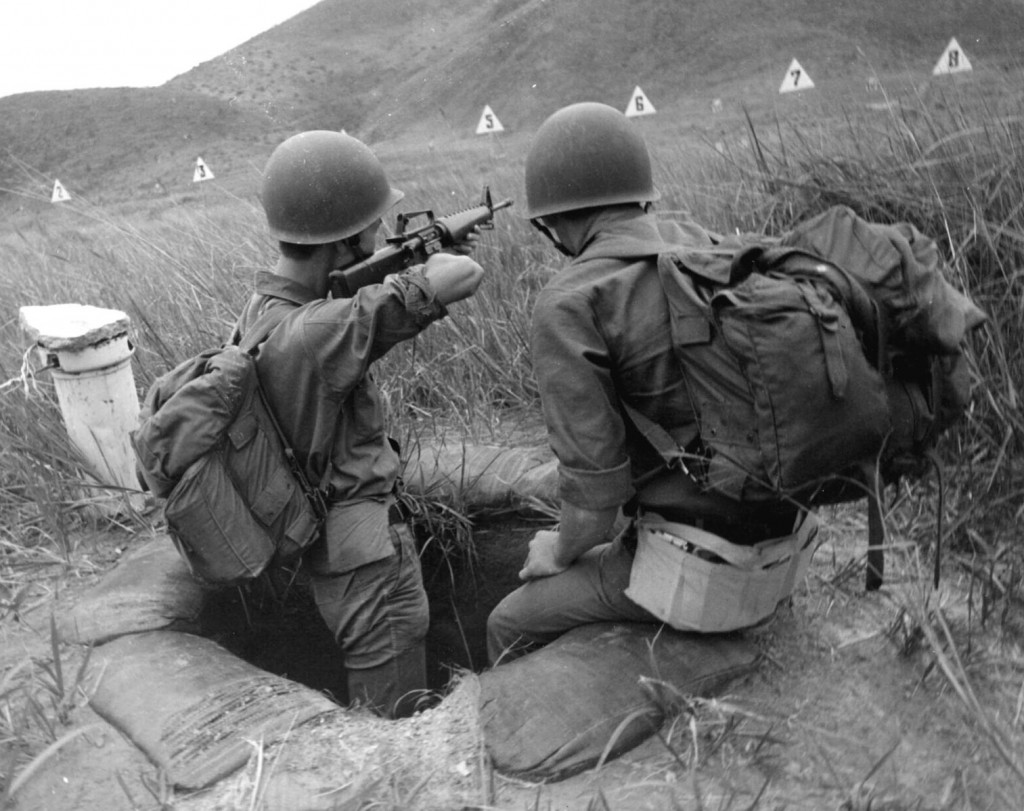ARVN_Recruit_Trains_with_M16_Rifle